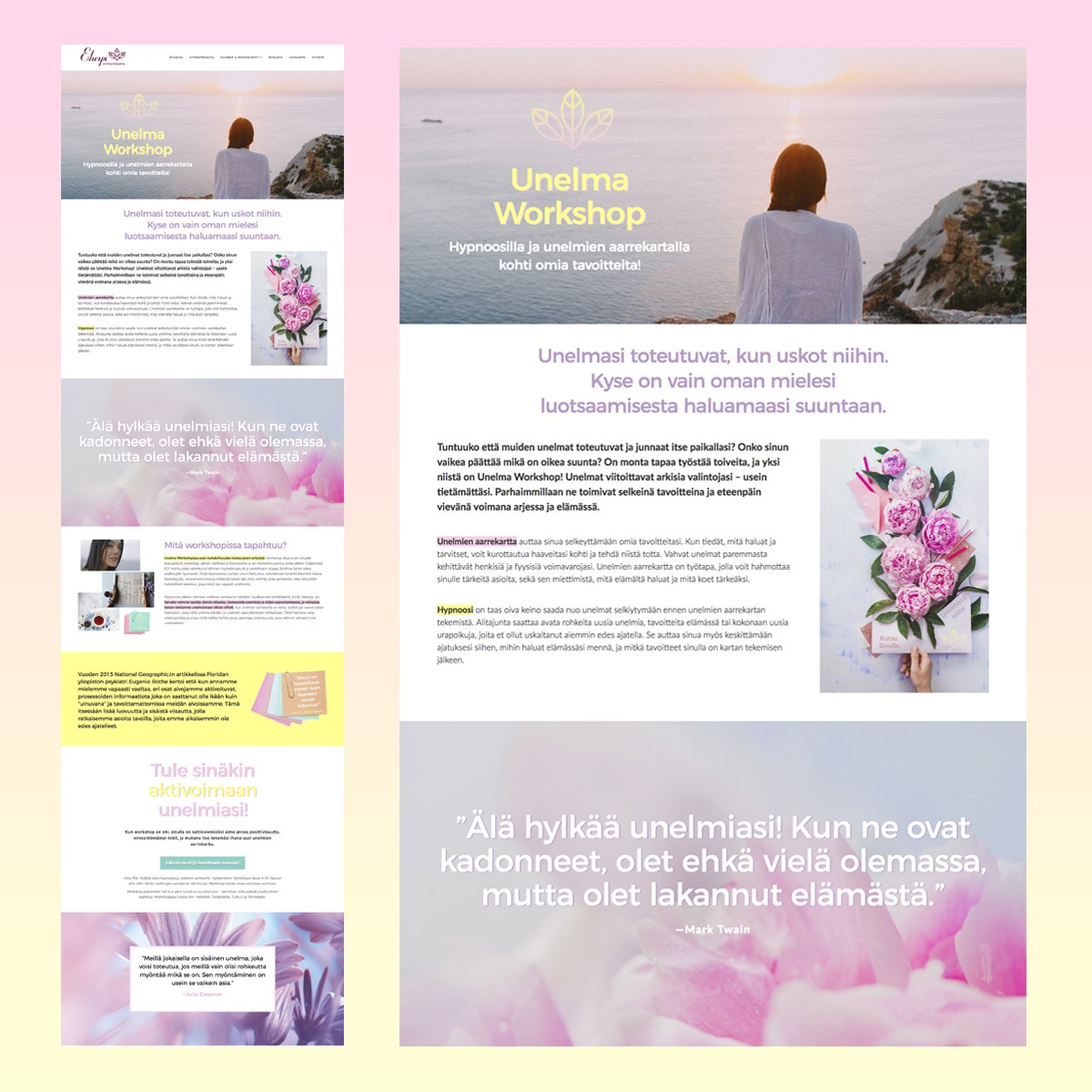 dreamy website design