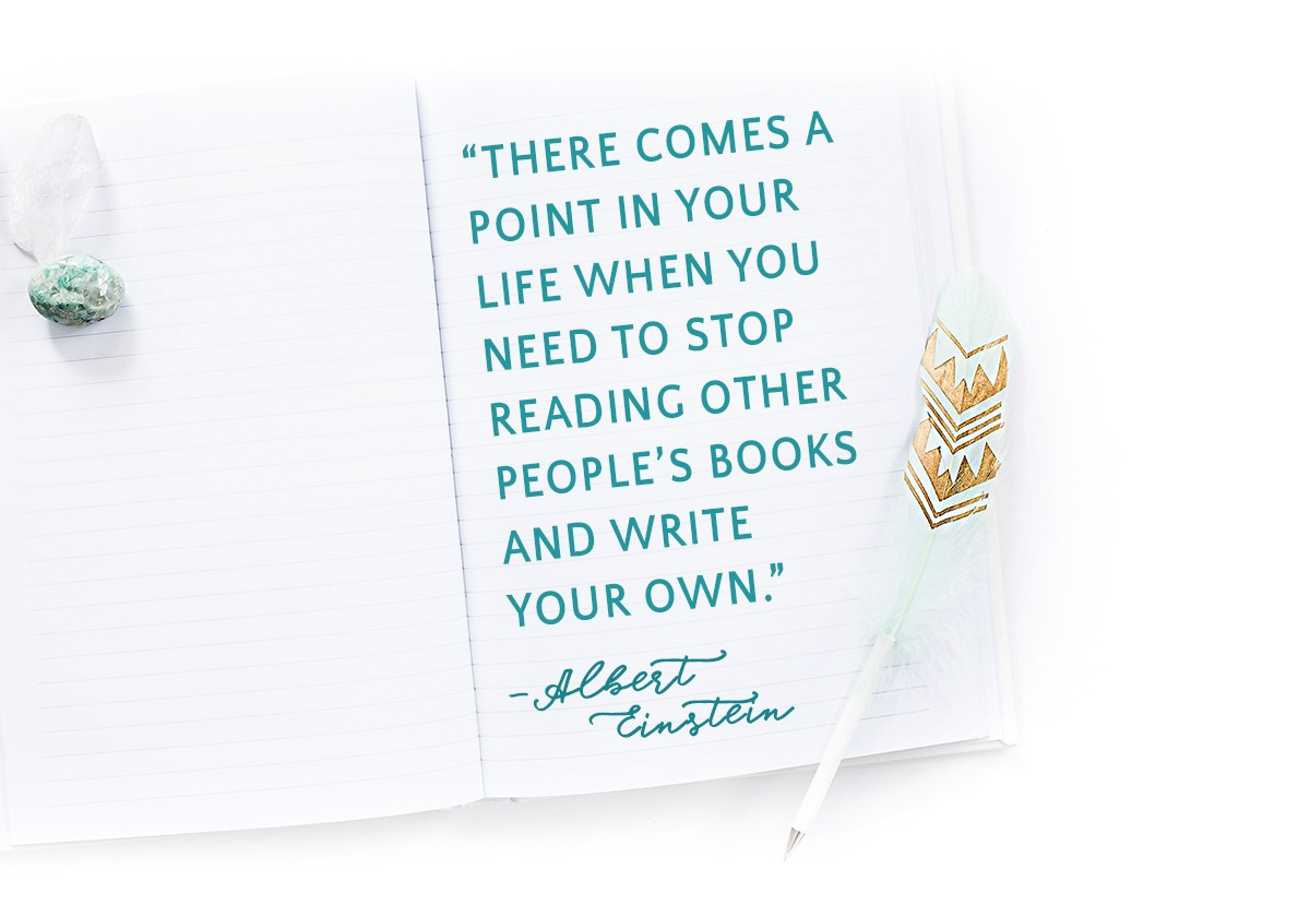 albert einstein quote on a bohemian notebook