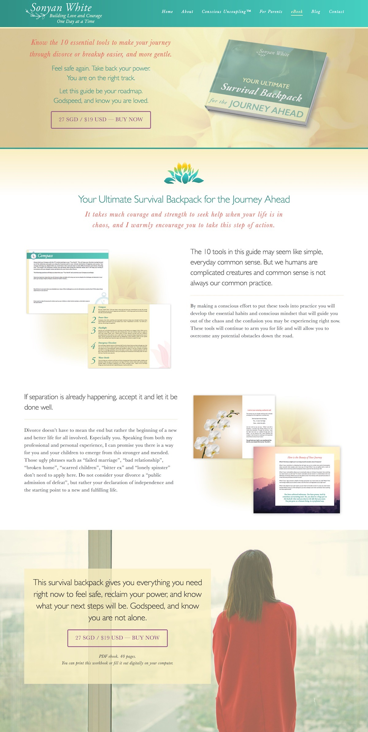 dreamy website design for conscious uncoupling coach Sonyan White