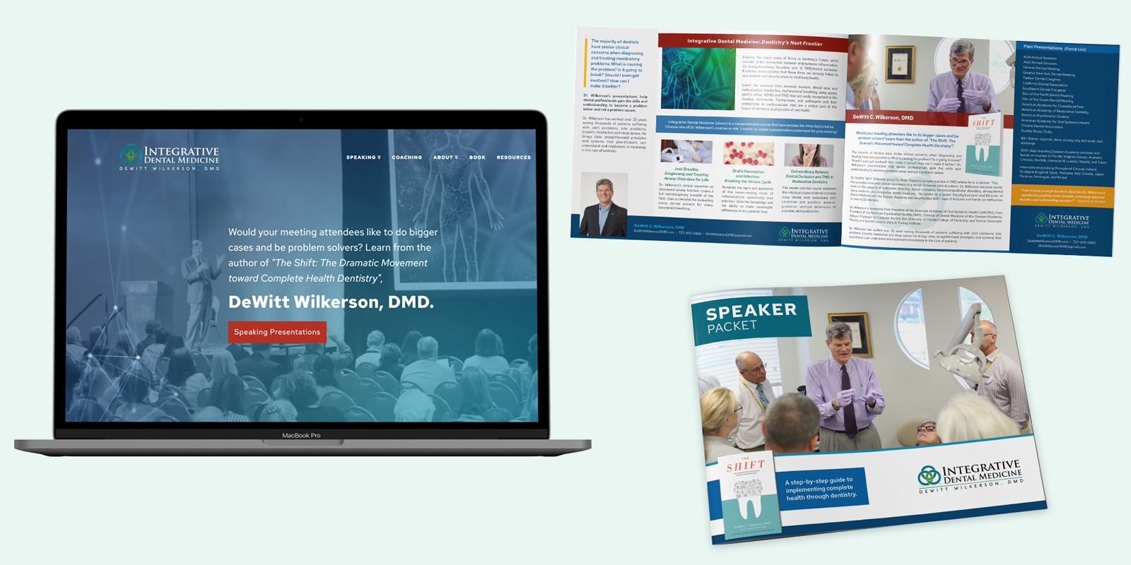 Website and speaker packet design for dental speaker Witt Wilkerson, DMD