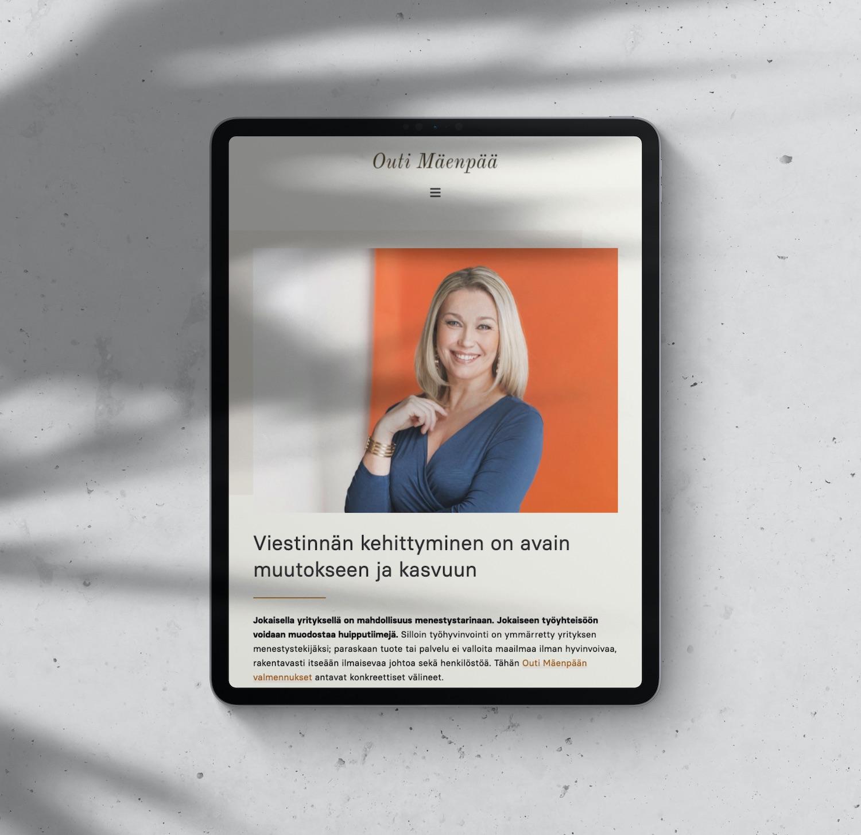 Outi Maenpaa Finland Coach and Actress Website design by Bhakti Creative